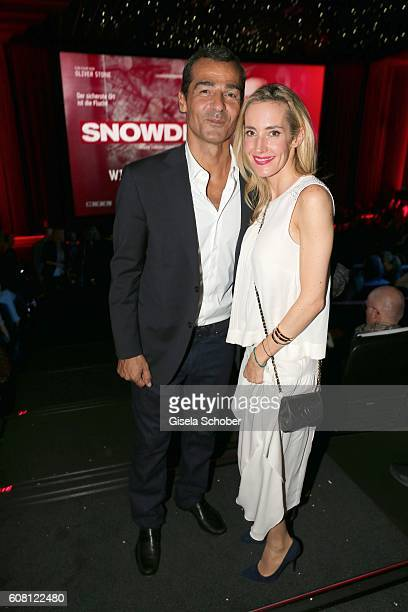 Erol Sander and his wife Caroline Goddet during the Europe premiere of the film 'Snowden' at Mathaeser Filmpalast on September 19 2016 in Munich...