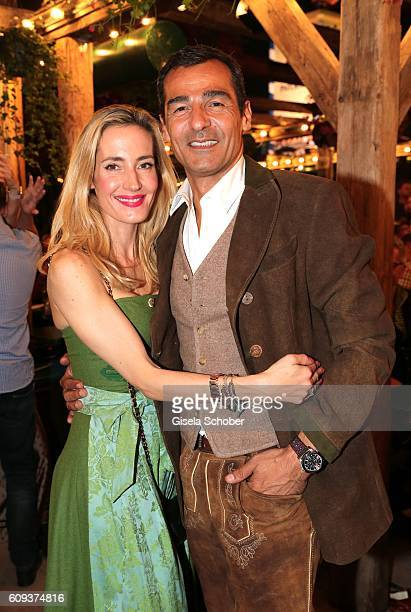 Erol Sander and his wife Caroline Goddet during the Oktoberfest at Kaeferschaenke at Theresienwiese on September 20 2016 in Munich Germany