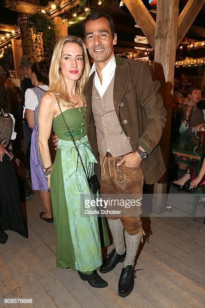 Erol Sander and his wife Caroline Goddet during the Oktoberfest at Kaeferschaenke at Theresienwiese on September 20 2016 in Munich Germany
