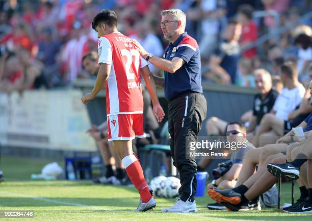 Eroll Zejnullahu and coach Urs Fischer of 1 FC Union Berlin Anweisungen during the test match between dem FSV Union Fuerstenwalde and Union Berlin at...