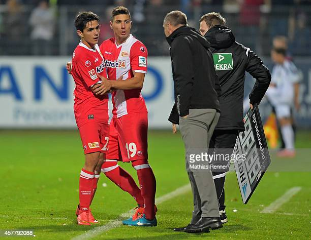 Eroll Zejnullahu of 1 FC Union Berlin and Damir Kreilach of 1 FC Union Berlin during the game between 1 FC Union Berlin against VfR Aalen on october...