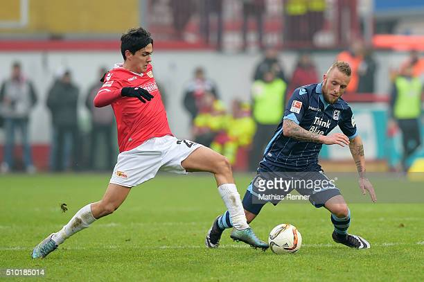 Eroll Zejnullahu of 1 FC Union Berlin and Daniel Adlung of TSV 1860 Muenchen during the game between Union Berlin and TSV 1860 Muenchen on february...