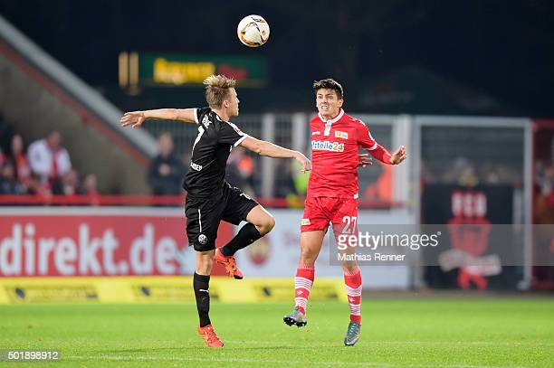 Eroll Zejnullahu of 1 FC Union Berlin heads the ball against Marco Thiede of SV Sandhausen during the game between Union Berlin and SV Sandhausen on...
