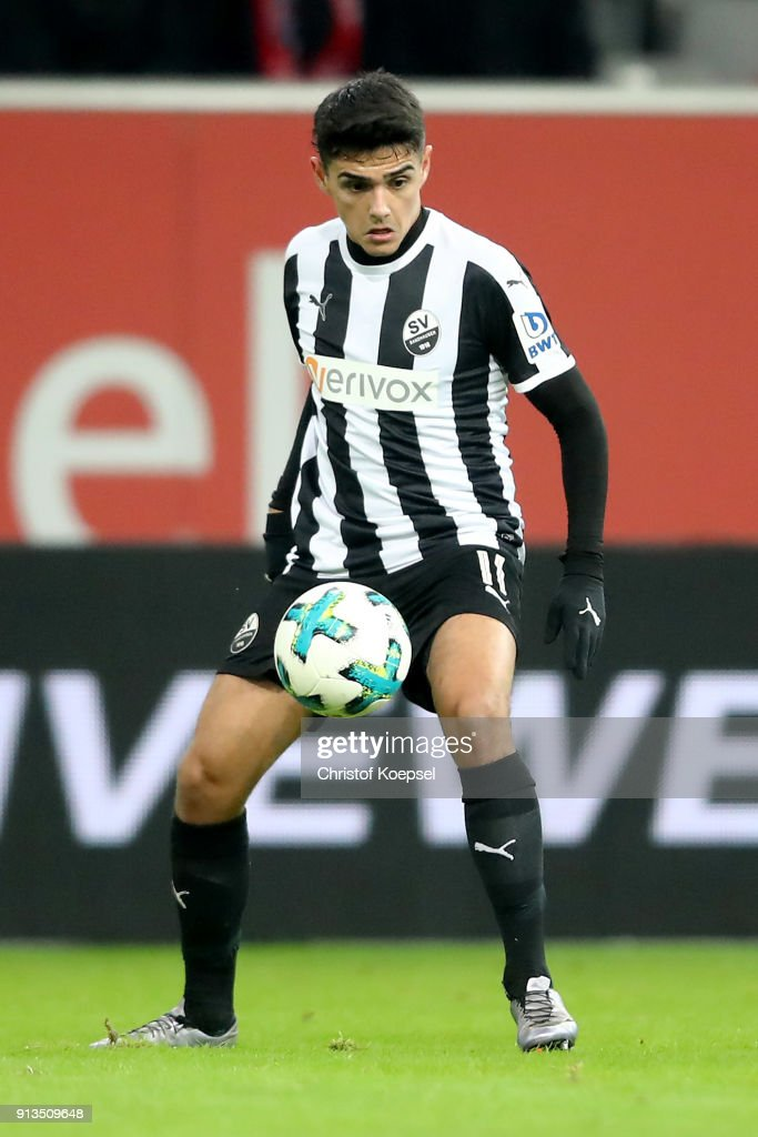 Eroll Zejnullahu of Sandhausen runs with the ball during the Second Bundesliga match between Fortuna Duesseldorf and SV Sandhausen at Esprit-Arena on February 2, 2018 in Duesseldorf, Germany. The match between Duesseldorf and Sandhausen ended 1-0.