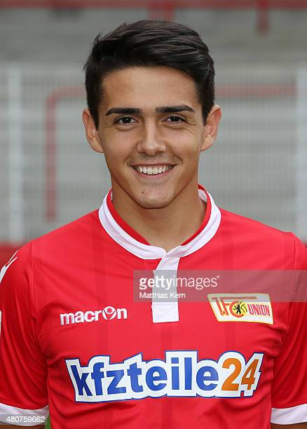 Eroll Zejnullahu poses during the offical team presentation of 1FC Union Berlin at Stadion an der Alten Foersterei on July 15 2015 in Berlin Germany
