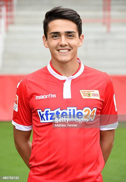 Eroll Zejnullahu poses during the team presentation of 1 FC Union Berlin at Stadion an der Alten Foersterei on July 15 2015 in Berlin Germany