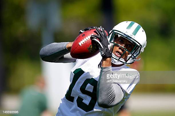 Eron Riley of New York Jets works out at an organized team activity at the New York Jets practice facility on May 24 2012 in Florham Park New Jersey