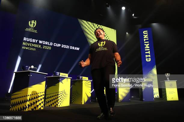 Eroni Clark warms up the crowd during the Rugby World Cup 2021 Draw event at the SKYCITY Theatre on November 20, 2020 in Auckland, New Zealand.