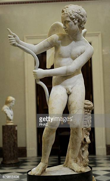 Eros drawing his bow Marble Roman work 2nd century AD After the Greek original of 4th century BC by Lysippos God of love son of Aphrodite The State...