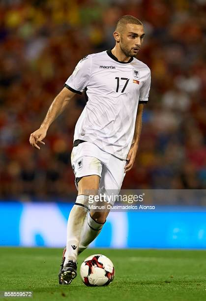 Eros Grezda of Albania in action during the FIFA 2018 World Cup Qualifier between Spain and Albania at Rico Perez Stadium on October 6 2017 in...