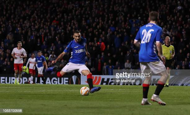 Eros Grezda of Rangers shoots at goal during the UEFA Europa League Group G match between Rangers and Spartak Moscow at Ibrox Stadium on October 25...