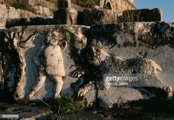 Eros hunting bas relief theatre in Miletus Turkey GreekRoman civilisation 4th century BC2nd century AD