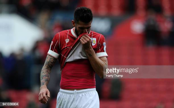 Eros Pisano of Bristol City reacts at the final whistle during the Sky Bet Championship match between Bristol City and Brentford at Ashton Gate on...