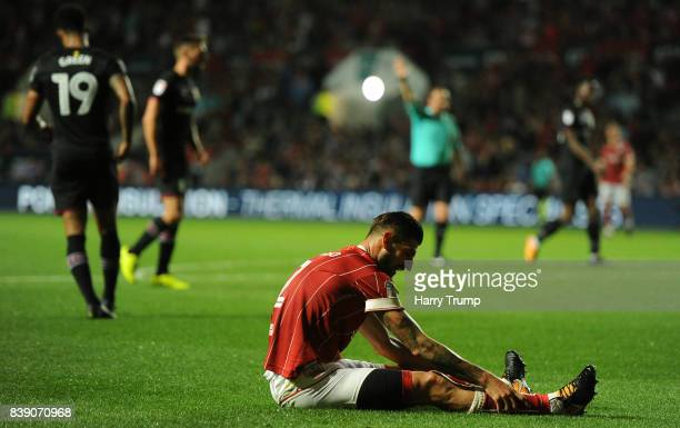 Eros Pisano of Bristol City reacts during the Sky Bet Championship match between Bristol City and Aston Villa at Ashton Gate on August 25 2017 in...