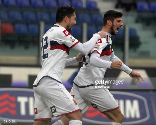 Eros Pisano of Genoa celebrates after scoring 01 during the Serie A match between Cagliari Calcio and Genoa CFC at Stadio Sant'Elia on January 13...