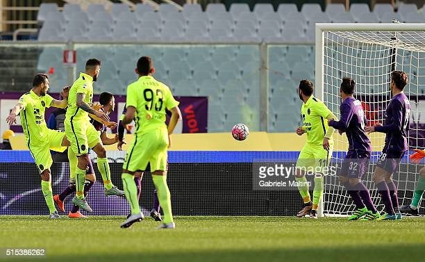 Eros Pisano of Hellas Verona FC scores a goal during the Serie A match between ACF Fiorentina and Hellas Verona FC at Stadio Artemio Franchi on March...