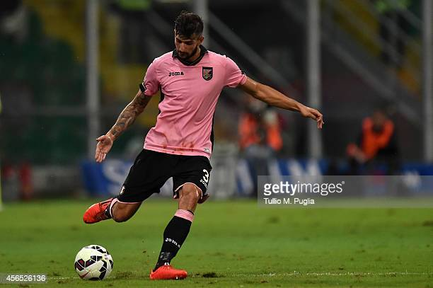 Eros Pisano of Palermo in action during the Serie A match between US Citta di Palermo and UC Sampdoria at Stadio Renzo Barbera on August 31 2014 in...
