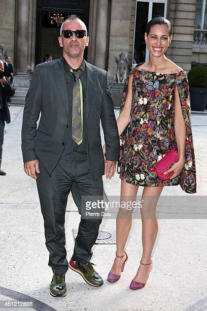 Eros Ramazzotti and his wife Marica Pellegrinelli attend the Valentino show as part of the Paris Fashion Week Menswear Spring/Summer 2015>> on June...