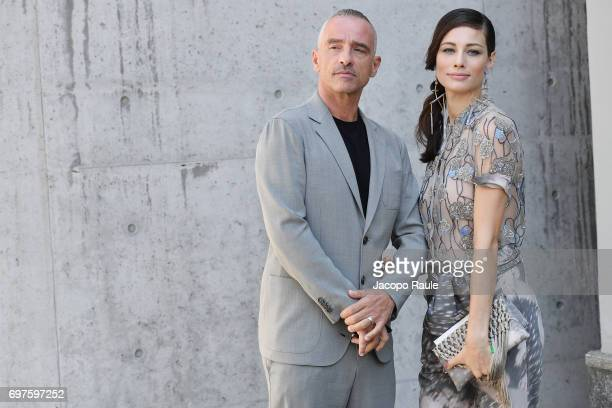 Eros Ramazzotti and Marica Pellegrinelli attend the Giorgio Armani show during Milan Men's Fashion Week Spring/Summer 2018 on June 19 2017 in Milan...