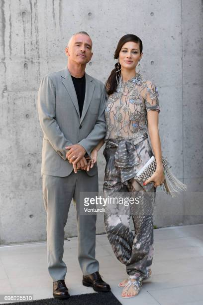 Eros Ramazzotti and Marica Pellegrinelli attend the Giorgio Armani show during Milan Men's Fashion Week Spring/Summer 2018 on June 19 2017 in Milan...