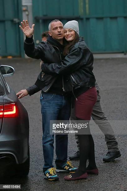 Eros Ramazzotti and Marica Pellegrinelli leave the Hospital with their son Gabrio Tullio on March 16 2015 in Milan Italy