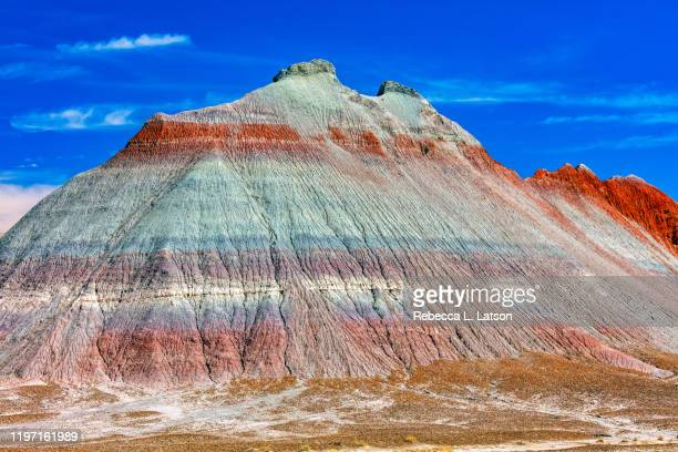 erosion and colors of a teepee in petrified forest national park - ロックストラータ ストックフォトと画像