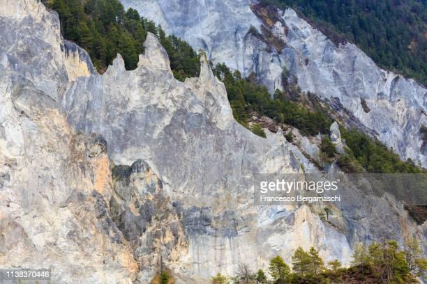 Erosion in the Rhine Valley. Rhein Gorge(Ruinaulta), Flims, Imboden, Graubunden, Switzerland, Europe