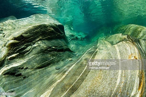 Erosion of the riverbed of the Verzasca River, Lavertezzo, Valle Verzasca, Canton Ticino, Switzerland