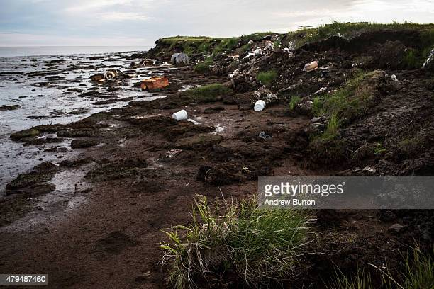 Erosion on the shores of the Ninglick River is seen on July 3 2015 in Newtok Alaska Newtok is one of several remote Alaskan villages that is being...