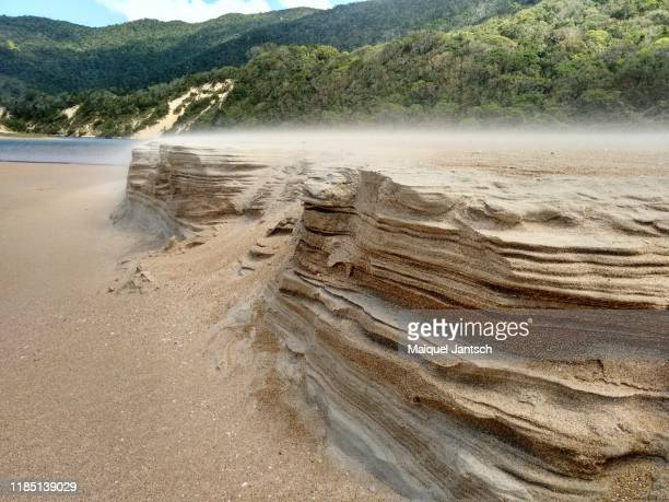 erosion - sand formations caused by the wind in florianópolis, santa catarina state - brazil - 浸食された ストックフォトと画像