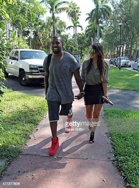 UKKanye West and Kim Kardashian are seen on October 08 2012 in Miami Florida