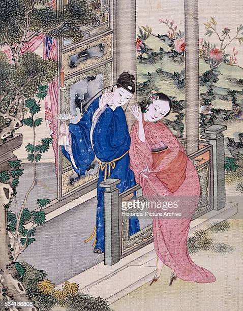 Erotic Album Illustration of a Chinese Couple Entering Their Bedroom