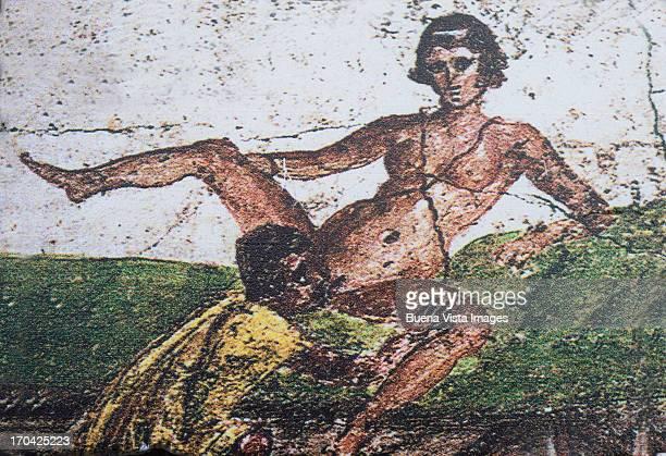 erotic fresco in a pompei lupanare (brothel) - pompeii stock photos and pictures
