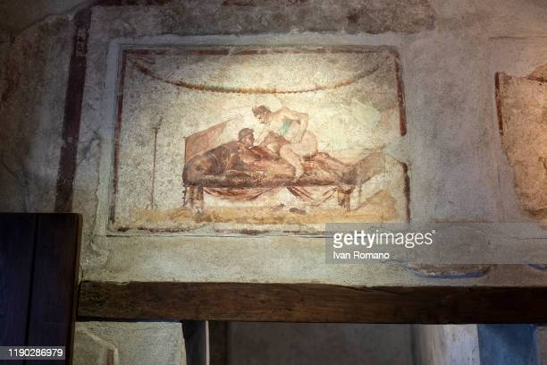 Erotic paintings in Lupanare on November 26 2019 in Pompei Italy
