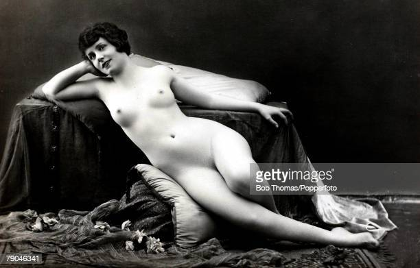 Erotic Postcard circa 1915 Nude Naked dark haired woman reclining full frontal