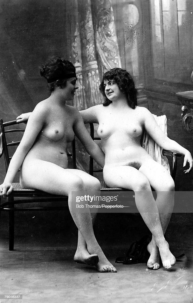 Erotic Postcard, Circa 1915, Nudes, Two Dark Haired Naked