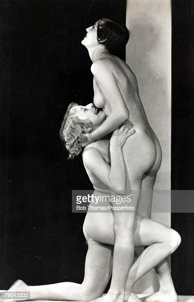 Erotic Postcard circa 1920 Couples/ Lesbian relationships Two naked women one darkone blond cavorting together in the nude