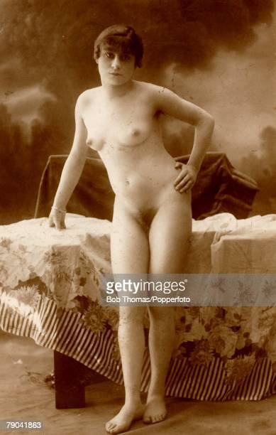 Erotic Postcard circa 1920 Nude Naked woman posing full frontal for the camera