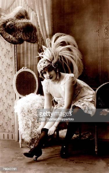 Erotic Postcard, France, Circa 1920, Dark Haired Woman Wearing News Photo - Getty -9447