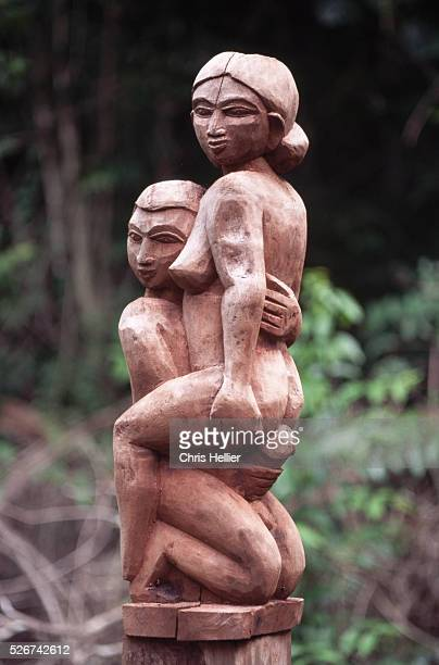 Erotic 'Sakalava' tomb sculpture of two lovers having sexual intercourse Madagascar