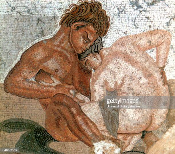 Erotic Satyr and Nymph wall painting from The House of the Faun built during the 2nd century BC in the Roman city of Pompeii The house partially...