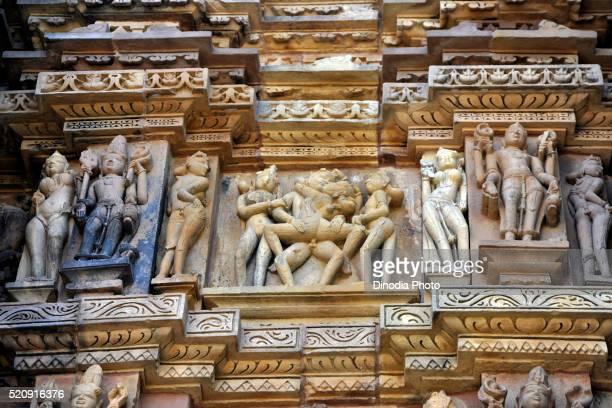 Erotic sculpture kandariya mahadeva temple, khajuraho, madhya pradesh, India, Asia