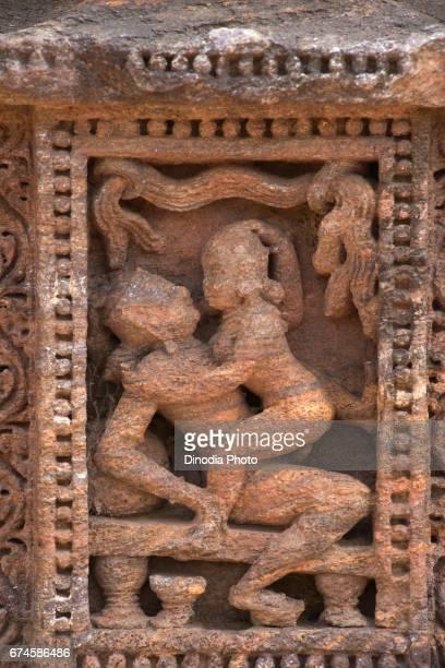 Erotic sculpture on chhaya devi wall temple, konark, orissa, india, asia