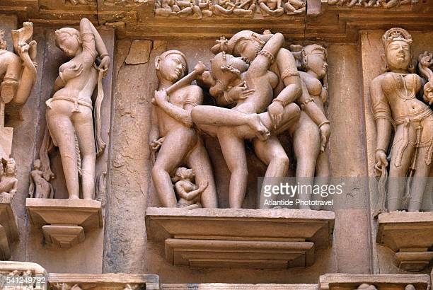 erotic sculpture on lakshmana temple - kama sutra art stock pictures, royalty-free photos & images