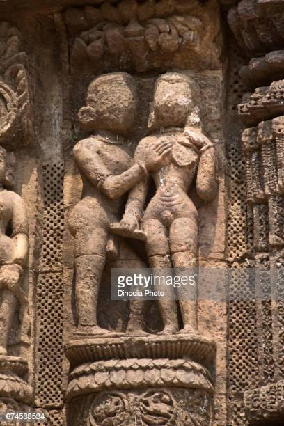 Erotic sculpture on sun temple, konark, orissa, india, asia