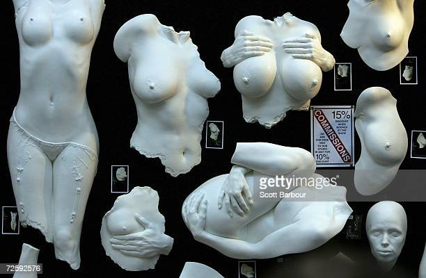 Erotic sculptures for sale are on display at the Erotica 2006 exhibition at Olympia November 17 2006 in London England The four day event includes...
