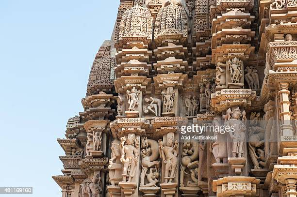 Erotic sculptures of the Khajuraho group of monuments part of the UNESCO World Heritage Sites at Khajuraho