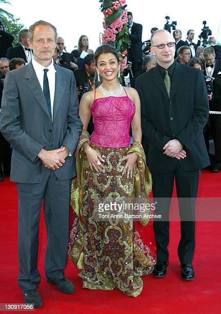 Erri De Luca Aishwarya Rai and Steven Soderbergh during 2003 Cannes Film Festival 'Fanfan La Tulipe' Opening Night Premiere at Palais des Festivals...