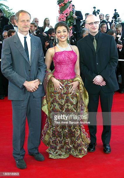 Erri De Luca Aishwarya Rai and Steven Soderbergh during 2003 Cannes Film Festival 'Fanfan La Tulipe' Opening Night Premiere at Palais des Festivals...