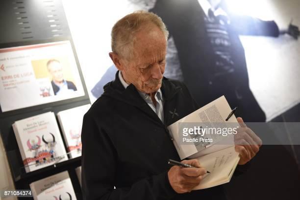 LAFELTRINELLI NAPOLI ITALY Erri de Luca Italian journalist writer and poet presents his new book Diavoli Custodi and meets readers for the signature...